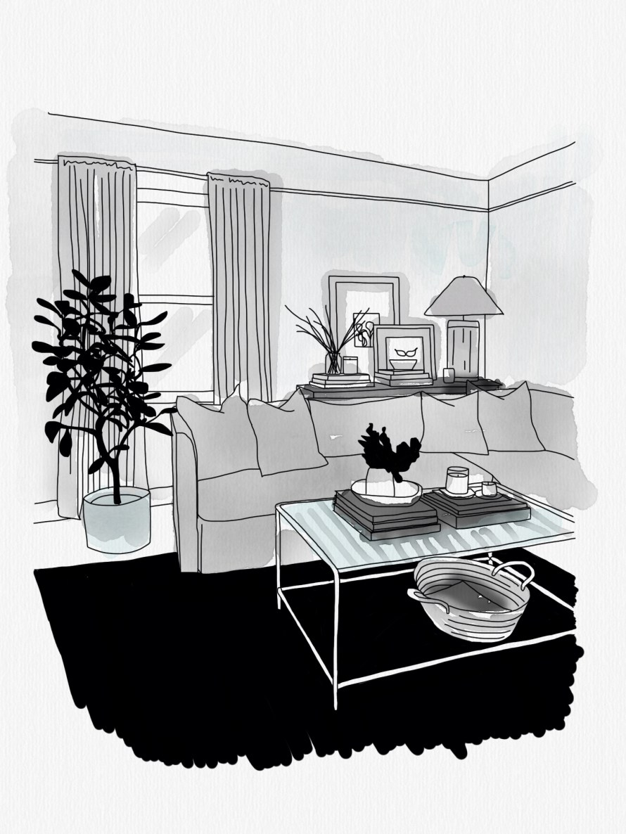An illustration of a living room in shades of grey