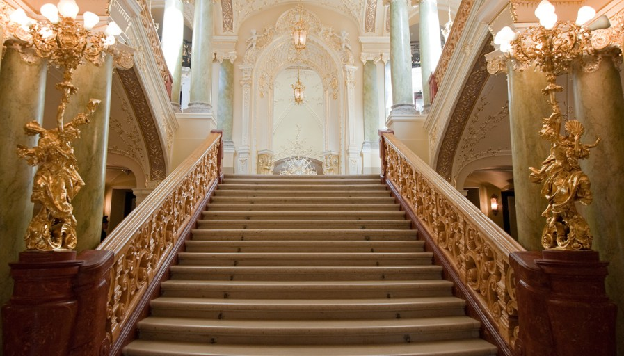 Looking up a palatial staircase