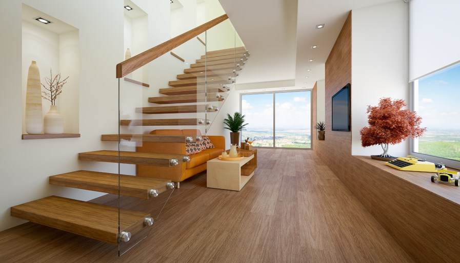Wood floating staircase with glass and wood rail