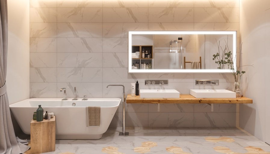 Marble bathroom with large soaker tub and double sinks
