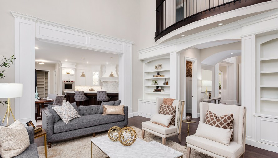 Custom designed living room with overlook from the second floor.