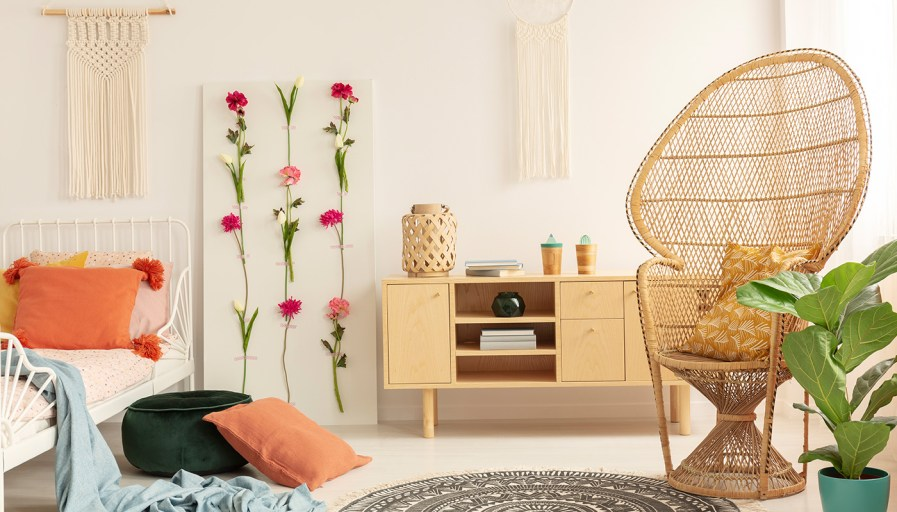 bedroom with close up of rattan chair