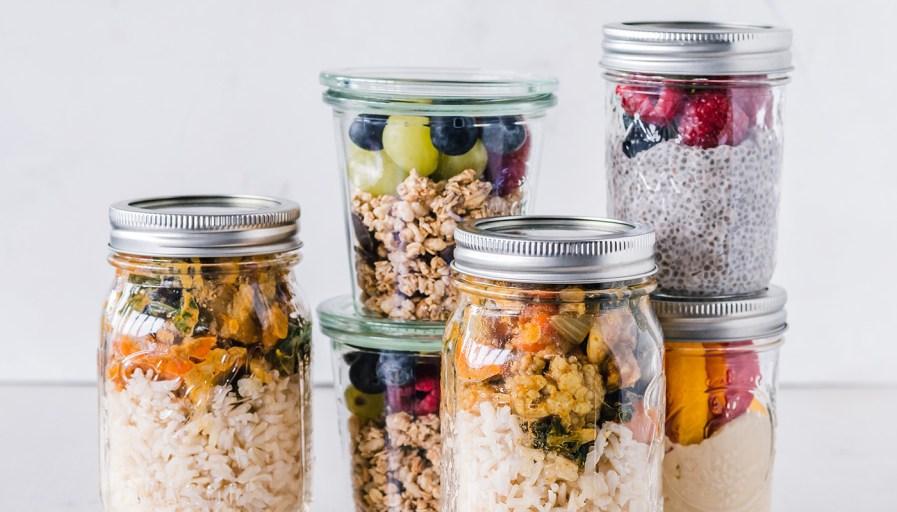 Mason jars with food.