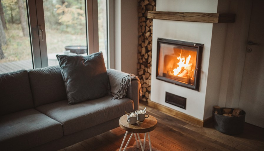 Built-in fire place in cozy living room