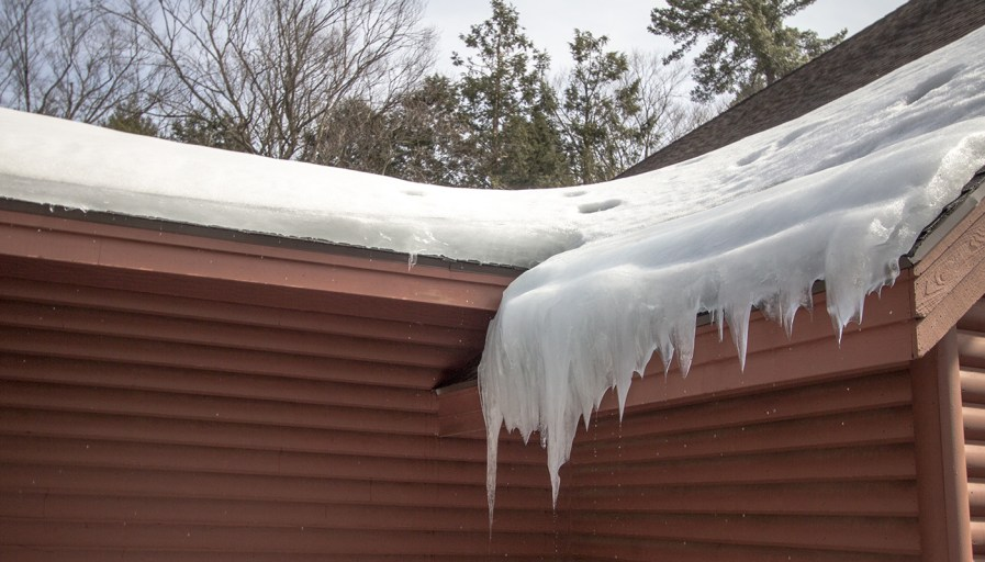 Eavestrough with icicles