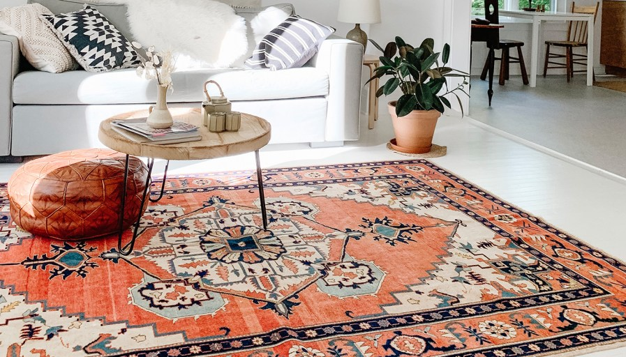 Bright coral vintage rug in living room