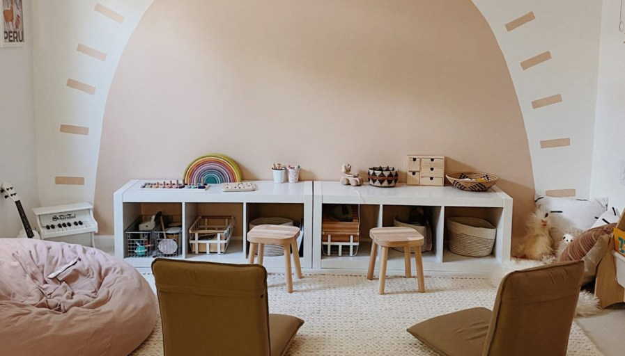 A gender neutral play room with beiges and creams.