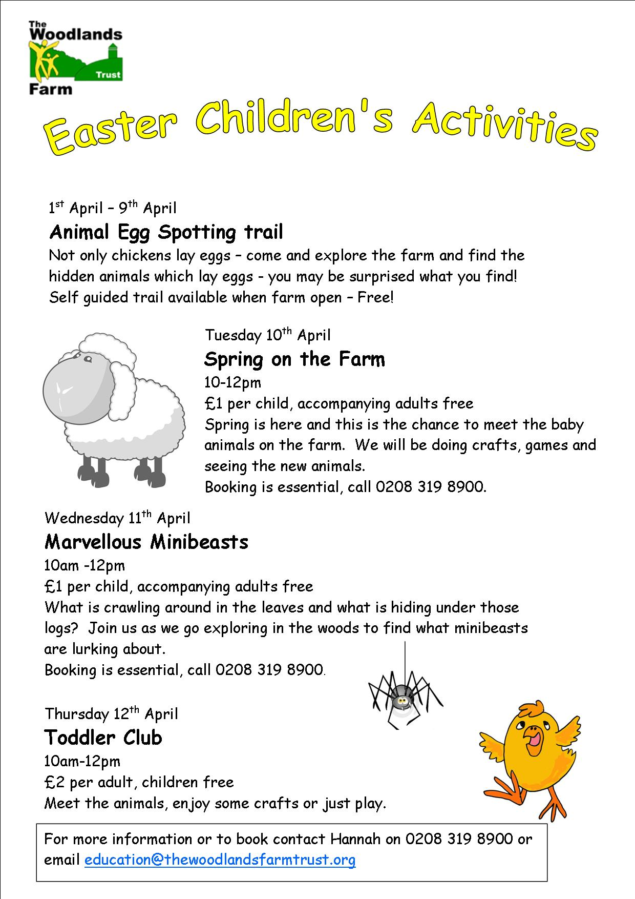 Easter Holiday Activities At Woodlands Farm A Spark In