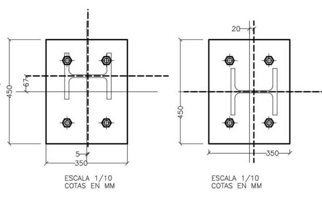 Replanteo en obra de placas de anclaje para arranque de estructura metálica sobre muro de hormigón.