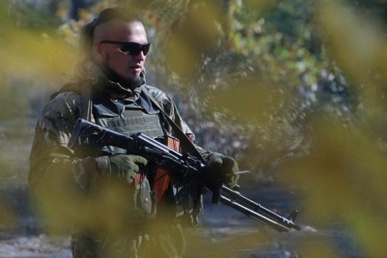 Ukrainian volunteer's battalion 'Azov' combat training