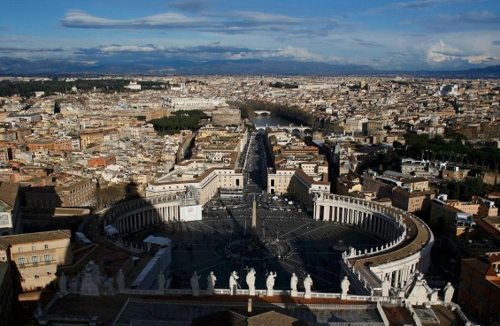 A general view of Saint Peter's Square and the city of Rome is seen from Saint Peter's Basilica at the Vatican