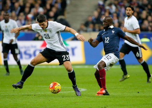 Football Soccer - France v Germany - International Friendly match - Stade de France, 13/11/15 Germany's Mario Gomez in action with France's Lassana Diarra. REUTERS/Gonzalo Fuentes