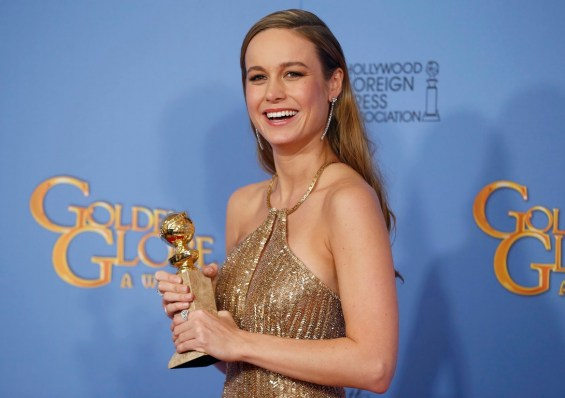 """Brie Larson poses with the award for Best Performance by an Actress in a Motion Picture - Drama for her role in """"Room"""" backstage at the 73rd Golden Globe Awards in Beverly Hills"""