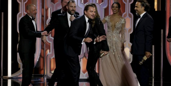 """DiCaprio speaks after """"The Revenant"""" won Best Motion Picture, Drama, at the 73rd Golden Globe Awards in Beverly Hills"""