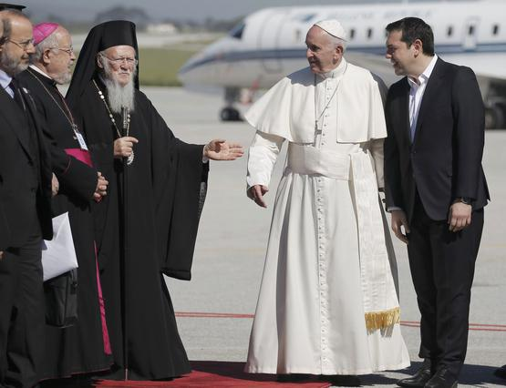 Pope Francis arrives on the Greek Island of Lesbos