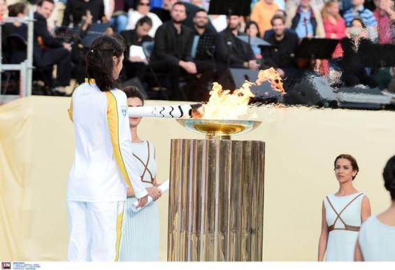 """ÔÅËÅÔÇ ÐÁÑÁÄÏÓÇÓ ÔÇÓ ÏËÕÌÐÉÁÊÇÓ ÖËÏÃÁÓ ÃÉÁ ÔÏÕÓ ÏËÕÌÐÉÁÊÏÕÓ ÁÃÙÍÅÓ """"ÑÉÏ 2016""""HANDOVER CEREMONY OF THE OLYMPIC FLAME FOR THE OLYMPIC GAMES """"RIO 2016"""""""