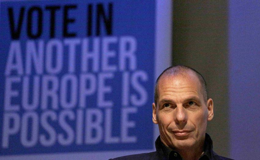 """Former Greek Finance Minister Yanis Varoufakis speaks at a """"Vote In - Another Europe is Possible """" rally in London"""
