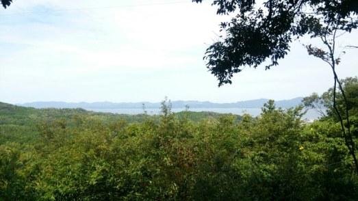 山頂からの宍道湖の眺め
