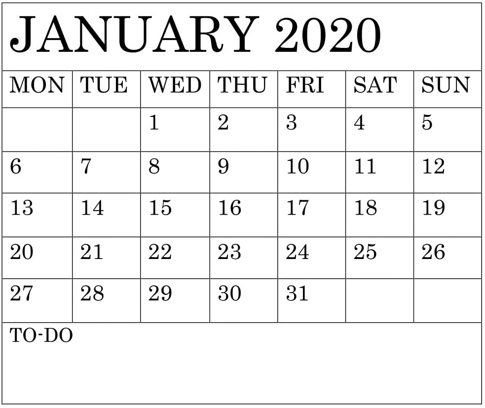 You can budget both your money and your time by making a. Free Printable Monthly Calendar 2020 Template - Calendar ...