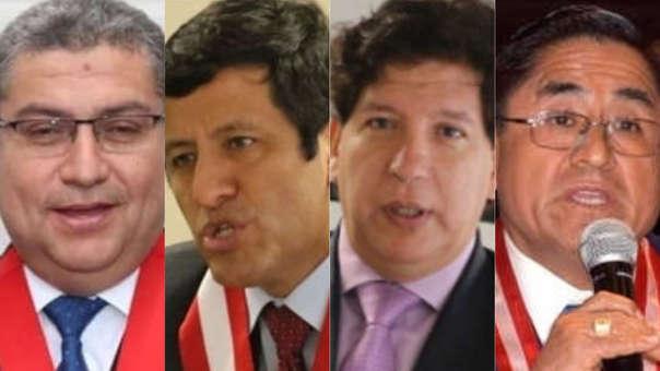 El actual presidente de la Corte Suprema del Callao, Walter Ríos; los consejeros del CNM Guido Águila e Iván Noguera y el presidente de la Segunda Sala Transitoria de la Corte Suprema, César Hinostroza.