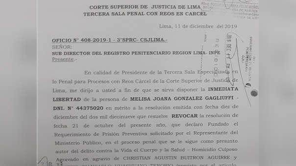 Esta es la resolución que ordena revocar la prisión preventiva contra Melisa González Gagliuffi.