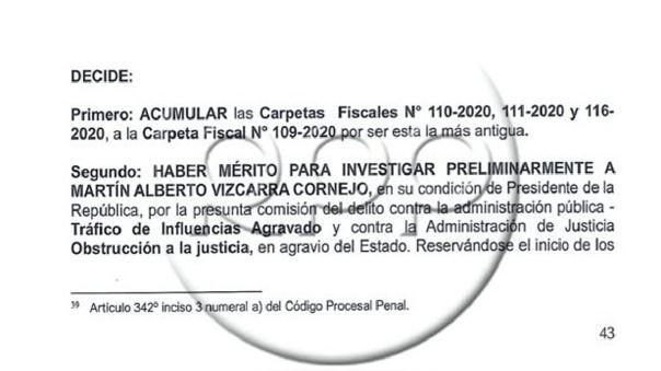 Informe fiscal que declara una investigación preliminar en contra del presidente Martín Vizcarra al finalizar su gobierno, por el caso Richard Cisneros