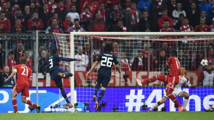 Patrice Evra scored for Man Utd the last time they were in the Champions League knockout phases in 2014