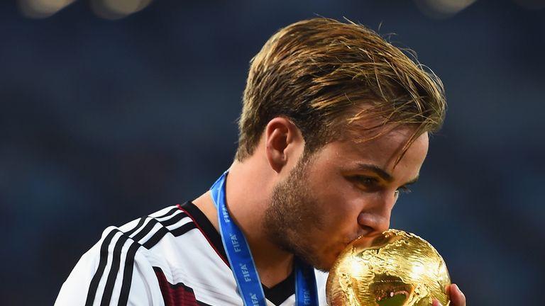 Gotze celebrates winning the World Cup