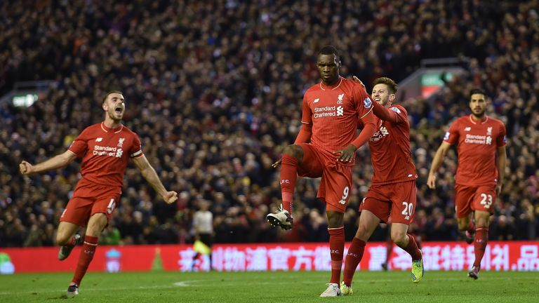 Christian Benteke celebrates his goal against Leicester