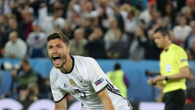 Jonas Hector scored the winning penalty for Germany against Italy on Saturday