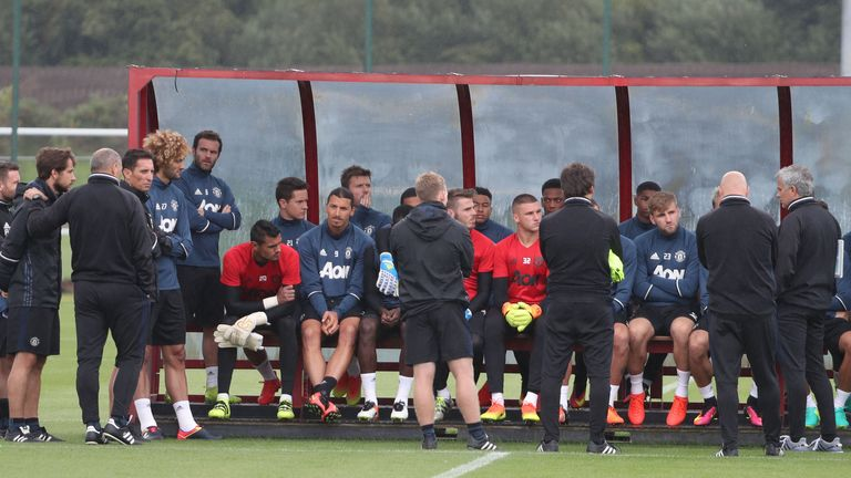 Ibrahimovic took part in a group meeting after the session