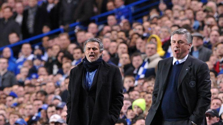 Jose Mourinho and Carlo Ancelotti pictured at Stamford Bridge in 2010