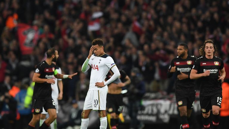 Dele Alli reacts after Bayer Leverkusen score at Wembley