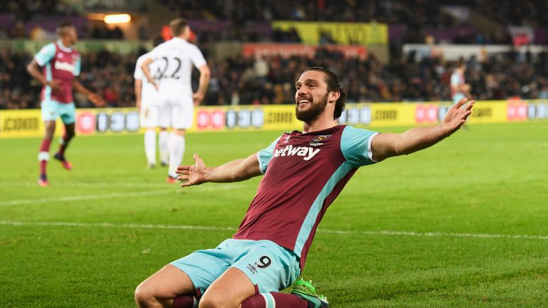 Andy Carroll was on the scoresheet for West Ham at Swansea