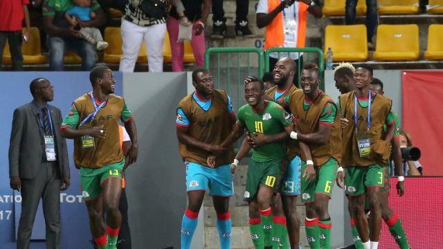 Burkina Faso's players celebrate Alain Traore's free-kick