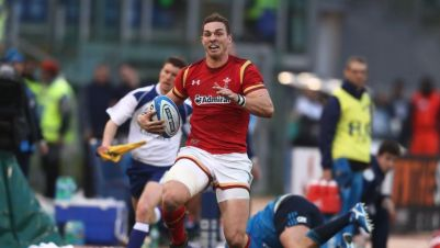 George North races downfield to score Wales' third try