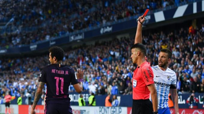 Neymar sees red against Malaga