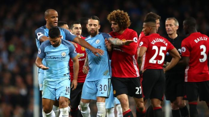 Marouane Fellaini was sent off for a headbutt on Sergio Aguero late on in the Manchester derby in April 2017