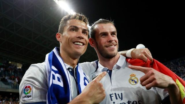 Cristiano Ronaldo and Gareth Bale celebrate after Real Madrid are crowned 2016/17 La Liga champions