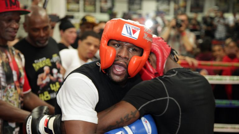 Mayweather chooses from a selection of sparring partners