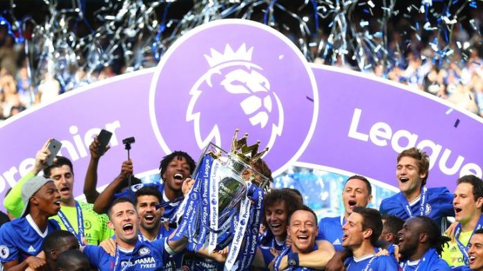 Terry lifted the Premier League trophy at Stamford Bridge along with Gary Cahill