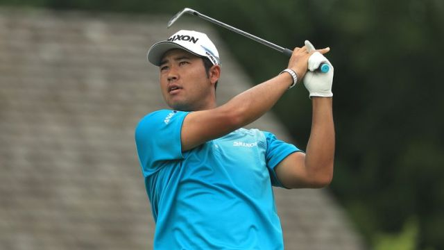 Hideki Matsuyama reeled off five birdies in six holes to claim a share of the lead