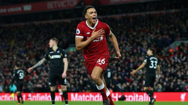 Trent Alexander-Arnold celebrates after making it 3-0