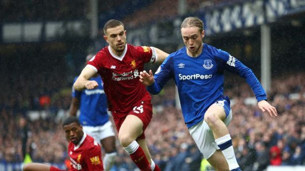 Tom Davies in action against Liverpool last season