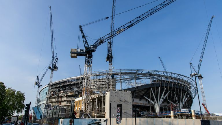 A general view of the ongoing construction of Tottenham's new stadium (May, 2018)