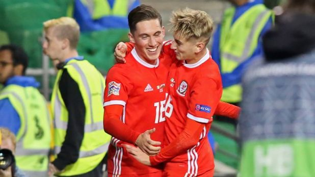 Harry Wilson (L) celebrates his goal with David Brooks