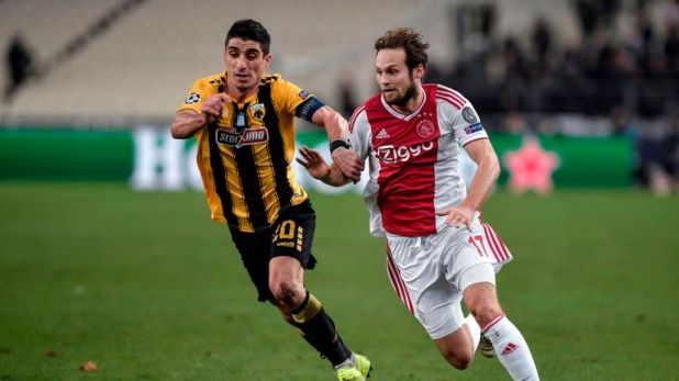 Daley Blind (right) returned to Ajax from Manchester United last summer