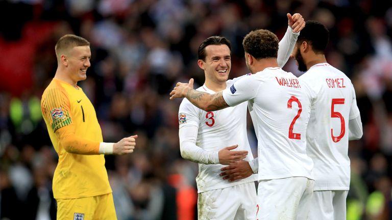 Ben Chilwell, Kyle Walker and Joe Gomez celebrate England's 2-1 win over Croatia at Wembley Stadium