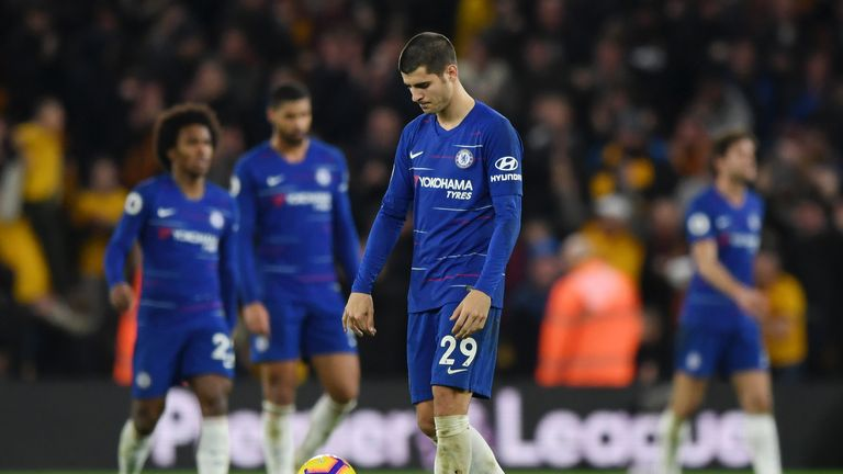 Alvaro Morata reacts during Chelsea's 2-1 defeat at Wolves