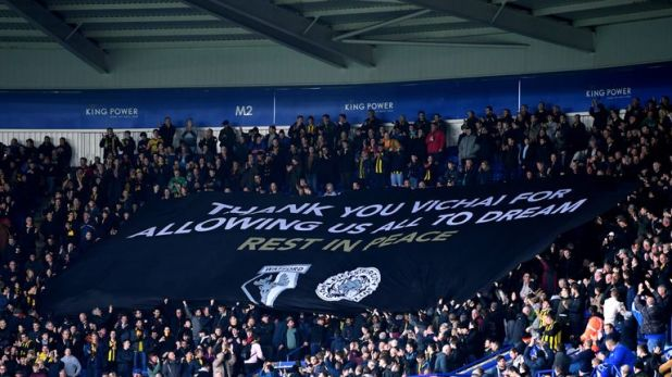 One of the banners displayed by Watford supporters at the King Power Stadium